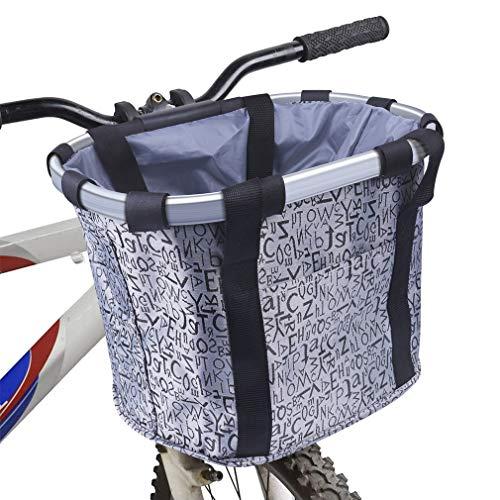 Cesta para bicicletas, frontal plegable Cestas para bicicletas para mascotas Marco desmontable en aleación de aluminio Cesta de tela Oxford para perros pequeños y gatos Bolsa de almacenamiento