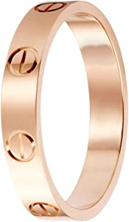 eaglecam Love Rings Lifetime for Women Men Couples Valentine's Day Classics Titanium Steel Rose Gold Rings by Screw Design Promise Engagement Wedding Best Gifts for Lovers