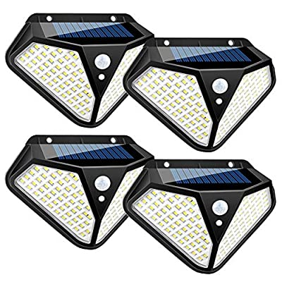 Solar Lights Outdoor, 3 Optional Modes 102 LED Solar Powered Security Lights with Waterproof Wireless Solar Security Lights Motion Sensor for Outdoor Gate, Yard, Steps, Patio, Fence, Driveway(4-Pack)