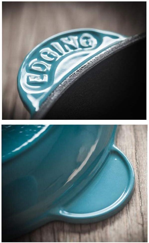 LULUDP Casseroles et poëles Casserole Casserole Casserole à Frire émaillée Ronde en Fonte émaillée de 25 cm Batteries de Cuisine (Couleur : Bleu) Bleu