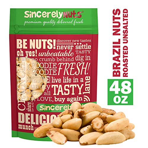 Sincerely Nuts Brazil Nuts Roasted and Unsalted - Three lbs. Bag   Premium Healthy Snack Food   Whole, Kosher, Vegan, Gluten Free   Gourmet Snack   Great Source of Protein, Vitamins & Minerals