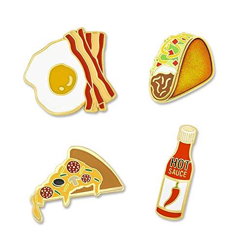 PinMart's Spice it up Hot Sauce Taco Bacon Eggs Pizza Enamel Lapel Pin Set