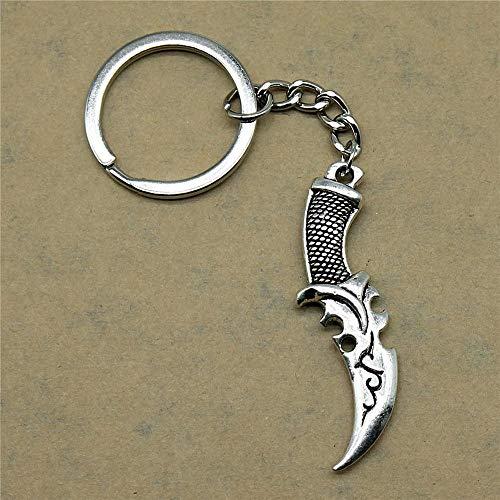 Zbzmm sleutelhanger accessoires sleutelhanger mes creatieve handgemaakte verjaardag geschenken 50x12mm hanger antieke zilver
