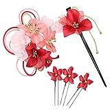 [鎌倉工芸] 和装 髪飾り 5点セット | カーネーションの花 ヘアクリップ ・ かんざし ・ Uピン3本 レッド(赤)