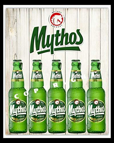 Mythos Griechisches Bier Griechenland Man Cave, Bar, Kneipe, Restaurant, Metallschild 1719, klein, 19 x 14 cm