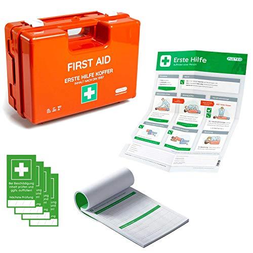 Erste-Hilfe-Koffer für Betriebe mit Inhalt nach DIN 13157 in orange, Verbandkasten gefüllt und mit Wandhalterung, inkl. Meldeblock, Erste-Hilfe Anleitung und Siegelaufkleber