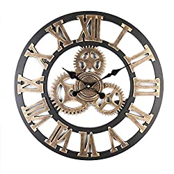 Fancylife 3D Retro Rustic Decorative Luxury Art Big Gear Wooden Vintage Large Handmade Oversized Wall Clocks