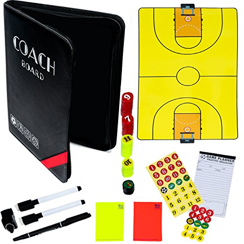 Dry-Erase Basketball Coaching Clipboard - Coach's Equipment that Includes Magnetic Board, Scorebook, Playbook, Whistle, Cards and Extras for Strategies, Techniques and Plays -Basketball Coaching Gear