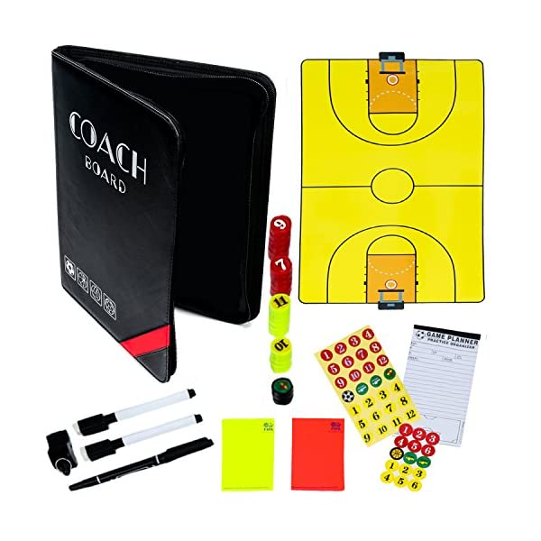 Dry-Erase Basketball Coaching Clipboard – Coach's Equipment that Includes Magnetic Board, Scorebook, Playbook, Whistle, Cards and Extras for Strategies, Techniques and Plays -Basketball Coaching Gear