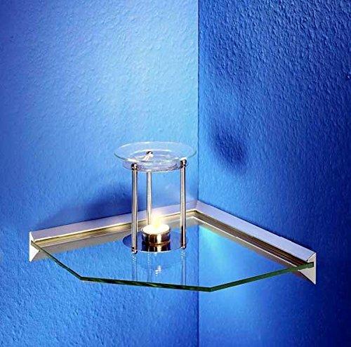 IB-Stye - Eckregal Klarglas Ablage Glasregal mit Klemmleiste 30 cm
