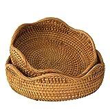 Set 2 Bol natural de mimbre tejido cesta de frutas | Tazón de almacenamiento decorativo hecho a mano Elegante mesa de comedor de sobre encimera rústica Boho Decoración de cocina (M,S)