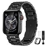 BesBand コンパチブル apple Watch バンド 38mm 40mm 42mm 44mmと互換性のあるアップグレードバージョンソリッドステンレススチールバンドビジネス交換,apple Watch交換用ストラップウィメンズメンズ, iwatch SE/Series 6 5 4 3 2 1(42mm 44mm, マットブラック/ポリッシュブラック)