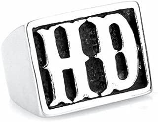 LAMUCH Herren Damen HD Punk-Rock-Buchstaben Titan Stahlring Silber