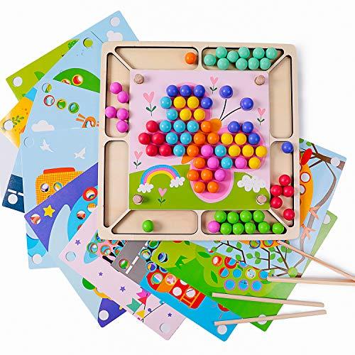 Rolimate Houten Educatief Montessori Speelgoed Clip Kraal Spel Peuter Voorschools Stapelen Leren Speelgoed Fijne Motor Kleurherkenning Ouder-kind interactie Verjaardagscadeau voor 3 4 5+ jaar Jongen