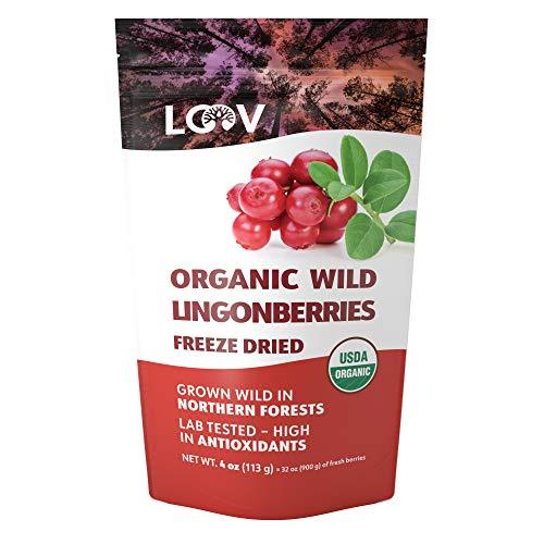 LOOV gefriergetrocknete Bio Wildpreiselbeeren, ohne Zuckerzusatz, 100% ganze Frucht, getrocknete Preiselbeeren, wild aus nordeuropäischen Wäldern, 113 g, Vorrat für 23 Tage, roh, ohne Gentechnik