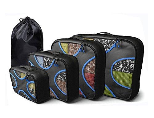 4Pz Cubi Di Imballaggio + 1 pc sacco della biancheria - Borse viaggio stabiliti per i bagagli Valigie zaino organizzatori (Nero)
