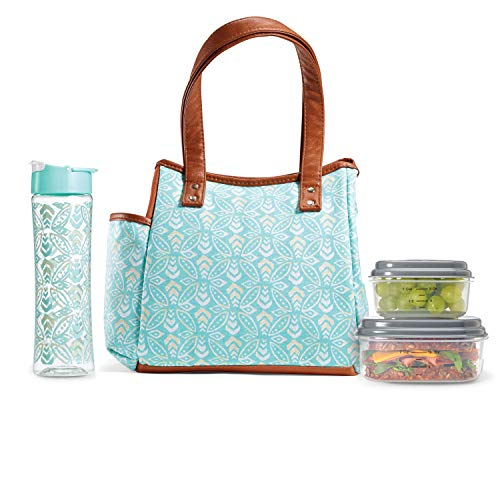 Fit & Fresh Insulated Lunch Bag Kit, includes Matching Bottle and Containers, Westerly Aqua Stamped Rings