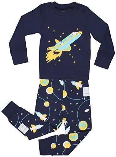 elowel | Schlafanzug | Kinder | Jungen | Zweiteilig - 2-Teilig | Enganliegend | 100% Baumwolle | Bequem, Weich | Größe: 4 Jahre (104) | Design: Weltraumrakete | Farbe: Blau