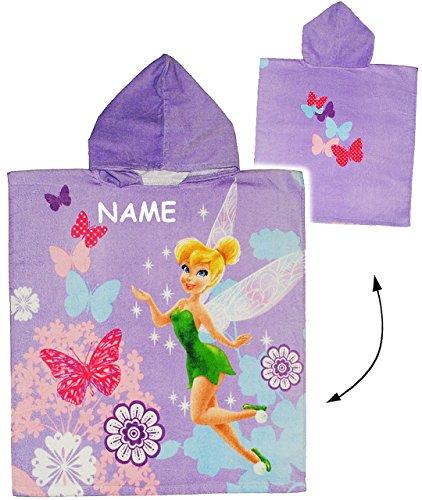 alles-meine.de GmbH Badeponcho -  Disney Fairies / Fairy  incl. Name - 60 cm * 120 cm - 4 bis 8 Jahre Poncho - mit Kapuze - Handtuch Strandtuch Baumwolle - Tinkerbell Schmetter..