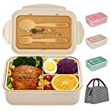 Bento Boxes for Kids and Adults, SHAKNIFE 1400ML Leak-Proof Lunch Container with Lunch Bag, Spoon & Fork, BPA-Free and Food-Safe Bento Lunch Box with 3 Compartment (Beige)