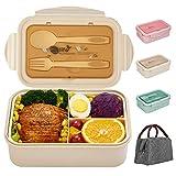 Bento Box per bambini e adulti, SHAKNIFE 1400 ml Contenitore per il pranzo a prova di perdite, con borsa per il pranzo, cucchiaio e forchetta, senza BPA e per alimenti(beige)
