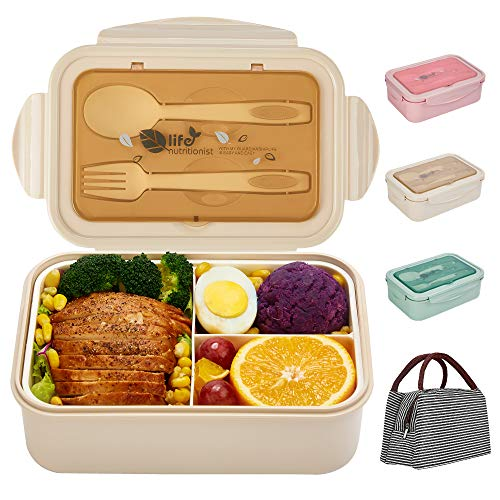 Bento Box für Kinder Erwachsene, SHAKNIFE 1400ML Luftdichte Lunchbox mit Lunchtasche Löffel Gabel, BPA-Freie und Lebensmittelechte Brotdose mit 3 Fächern (Beige)