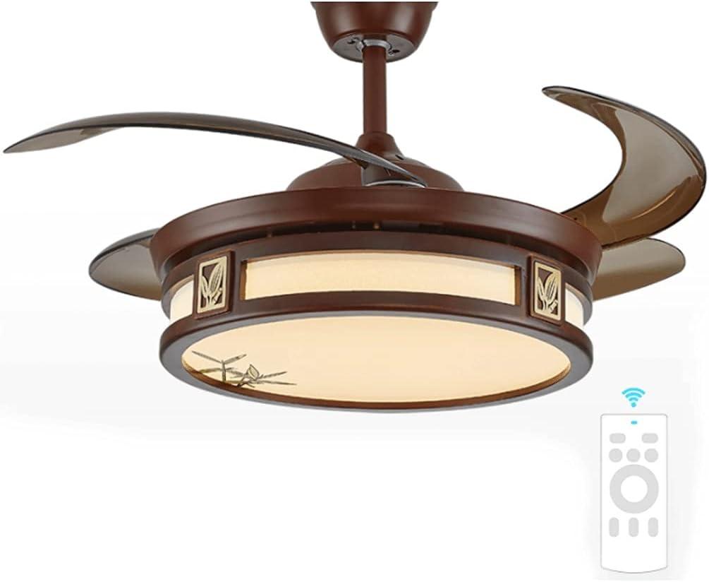 Ventiladores para el Techo con Lámpara Ventilador de techo invisible de 42 pulgadas con control de luz y control remoto, cuchillas retráctiles Atracenes de araña para un dormitorio Comedor Ventilador