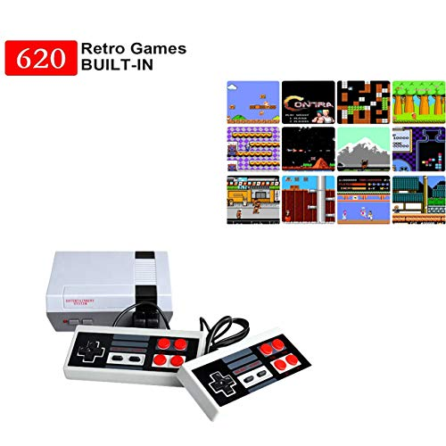 Jackky 620 Retro Classic Video Game Console AV Output Mini NES Console 620 in 1 Built-in Plug and Play Video Games with 2 Controllers Handheld Games for Kids & Adults