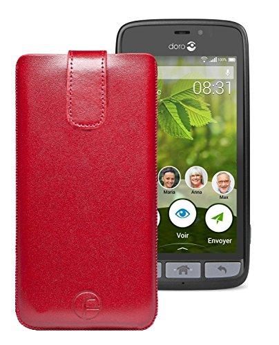 Original Favory Etui Tasche für Doro 8031 | Doro 8031C Leder Etui Handytasche Ledertasche Schutzhülle Hülle Hülle Lasche mit Rückzugfunktion* in rot