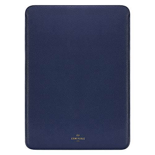 Comfyable Laptop Sleeve 16 Inch for MacBook Pro 16' 2019-2020, Faux Leather 16in Case, Midnight Blue
