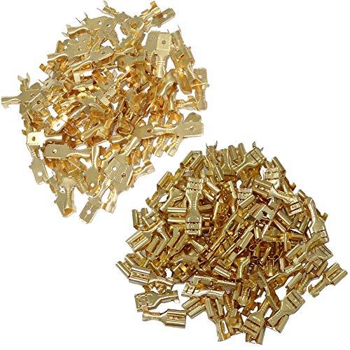 AERZETIX: 200 X Kabelschuhe männlich und weiblich flach 6,3 mm 1-2,5 mm2