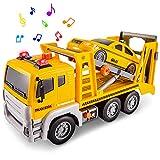 HERSITY Camión Grandes de Remolque Transportador Coche Juguete con Luz y Sonido Educativo Regalos para Niños 3 4 5 6 Años
