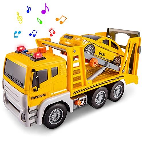 HERSITY Transporter LKW mit Taxi Auto Spielzeug Sound und Licht Abschleppwagen Push and Go Spielzeug Geschenk für Kinder ab 3 Jahre