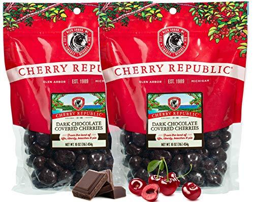 Cherry Republic Dark Chocolate Cherries - Authentic & Fresh Chocolate Covered Cherries Straight from Michigan - 2 x 16 Ounces
