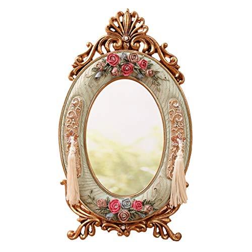 Miroir européen de maquillage de jardin de bureau de maquillage de miroir de bureau de résine de résine de bureau de dortoir de taille de bureau: 15 * 26cm