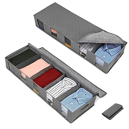 Bolsa de Almacenamiento Debajo de la Cama,Cajas Almacenaje Ropa con ventanas y cremalleras, 2 Piezas Plegable Debajo de la Cama Organizador para camisas mantas ropa de cama