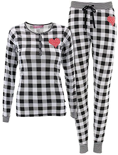 Love Loungewear Juniors Fireside White Check Pajamas L