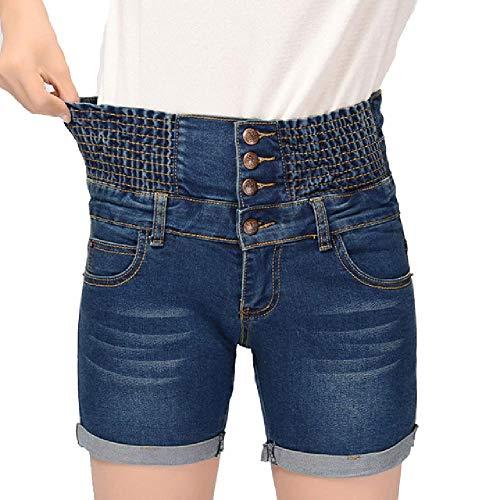 Pantalones Cortos de Mezclilla para MujerVerano de Cintura Alta Volante de Cintura elástica