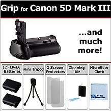 Battery Grip for Canon EOS 5D Mark III DSLR Camera + 2 LP-E6 Long Life Batteries + an eCostConnection Complete Starter Kit