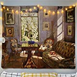 YYRAIN Vintage Pintura Al Óleo Tapiz Dormitorio Fondo Paño Decoración De La Pared Tapiz Pasillo Fondo Paño 78x59 Inch {200x150cm} with and Height