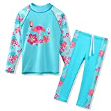 TFJH E Swimsuits for Girls Long Sleeve 2-Pieces Kids Beachwear Sunsuits 3t 4y Cyan Swan 4A