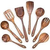 Camisin Juego de 8 cucharas de cocina en teca Juego de utensilios de cocina de madera Utensilios de cocina Slet Utensilios de cocina Set de utensilios de cocina