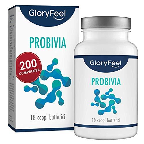 GloryFeel® Integratore Probiotico Probivia | 200 Capsule Gastroresistenti | Fermenti Lattici Probiotici con 18 Ceppi Batterici (tra cui Lactobacillus, Bifidobacterium + Inulina)