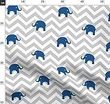 Elefanten, Chevron, Grau, Blau, Tierbabys Stoffe -