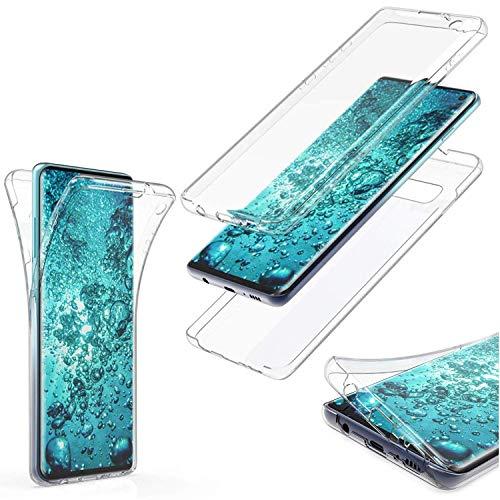 MOELECTRONIX Hülle passend für Huawei Y7 2018 Dual SIM LDN-L21 Komplettschutz 360 Grad TPU Silikon Tasche Full Cover Hülle Transparent