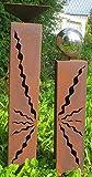 Gartendeko Rostsäulen Paar 80 cm + 60 cm schöne Stehlen