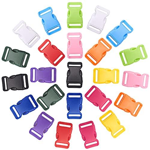 PandaHall 48 hebillas laterales de liberación rápida de 12 colores, hebillas coloridas de 2,5 cm, clips de hebilla de plástico para hacer correa de equipaje, collar de mascotas, reparación de mochila