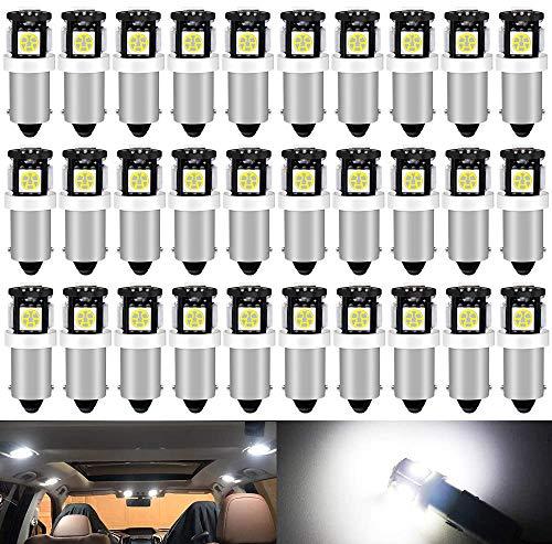 DEFVNSY 30X Blanco Bombillas LED BA9S T11 T4W 64111 Miniatura Bayoneta única Base de Contacto 5SMD 5050 para Luces de Marcador Lateral Barco navegación Luces Domo mapas Luces de matrícula luz