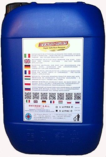 EVAPO-RUST® - 5 LT. - Removedor selectivo de óxido a base agua para hierro, acero, hierro fundido y cromaduras
