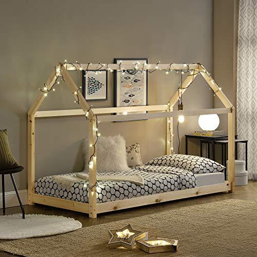 [en.casa] Lit Enfant Design Maison Cadre Structure Lit Bois Blanc Cabane 206 x 98 x 142 cm Couleur...